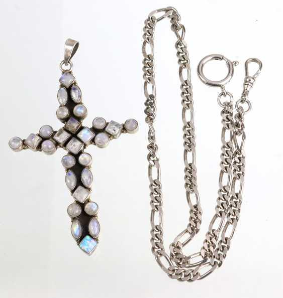 Cross pendant with moonstone & fire opal - photo 1