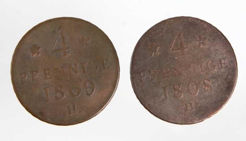 2 x 4 pennies Saxony 1808/09 - photo 1