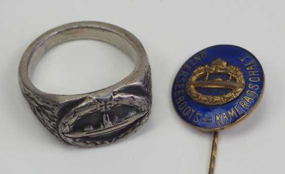 German Empire: Submarine Comradeship needle and ring. - photo 1