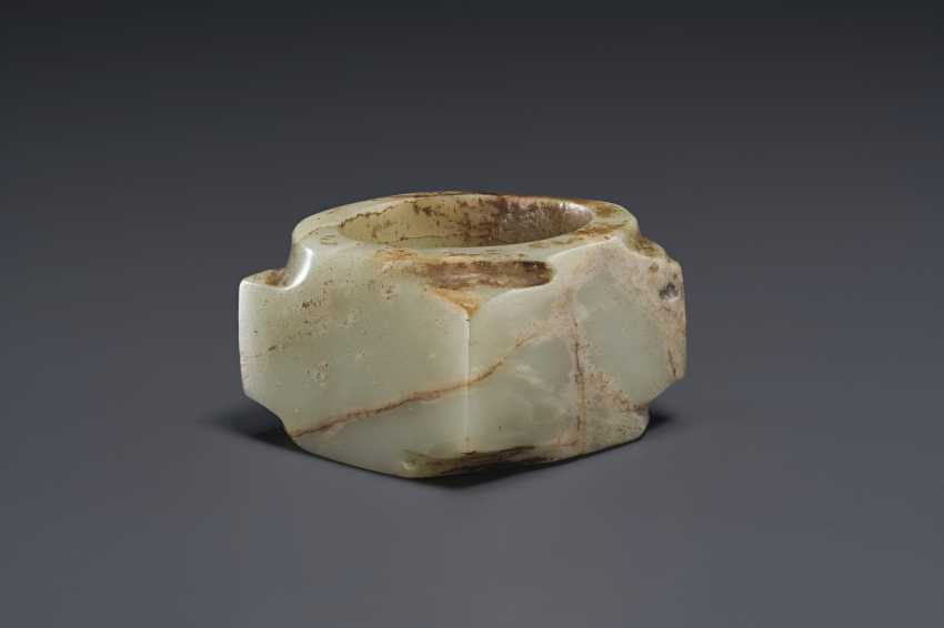 A SMALL PALE GREENISH-WHITE JADE CONG - photo 1