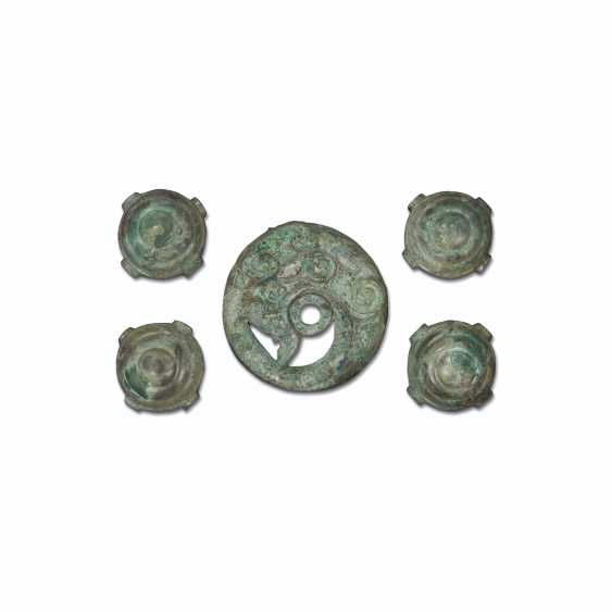 A SET OF FIVE BRONZE FITTINGS - photo 1