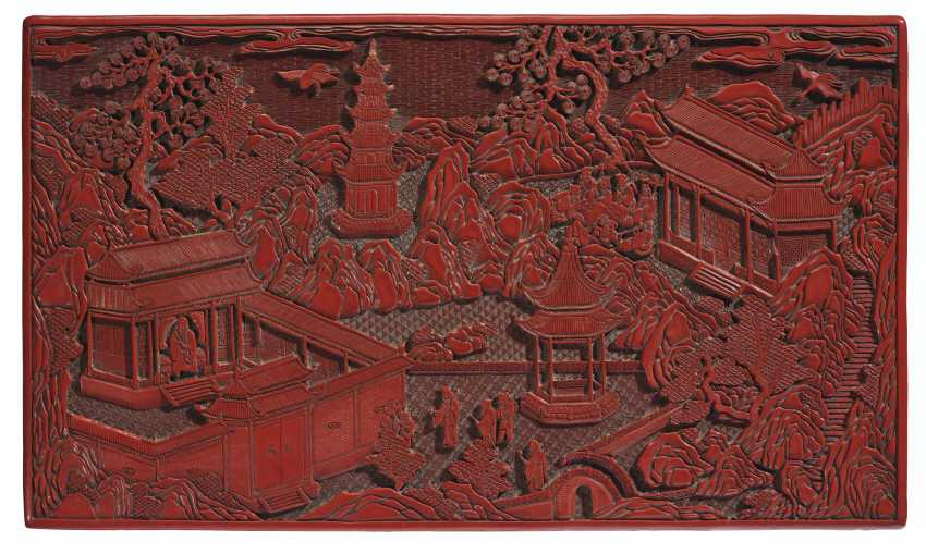 A CARVED RED LACQUER KANG TABLE - photo 2