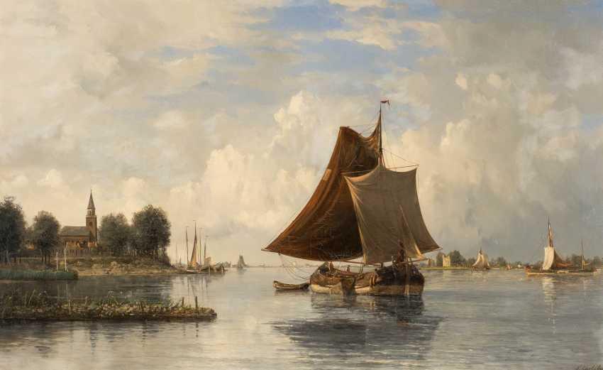 Dutch river landscape with sailing boats - photo 1