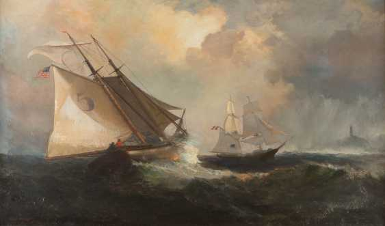 Sailing Ships In The Storm Off The American Coast - photo 1