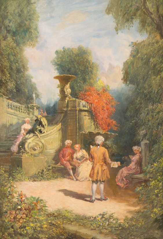 Pair of paintings: Society in the pleasure garden, serenade in the park - photo 1