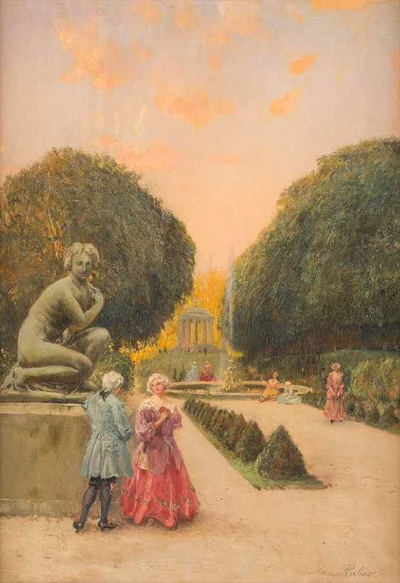 Pair of paintings: Society in the pleasure garden, serenade in the park - photo 3