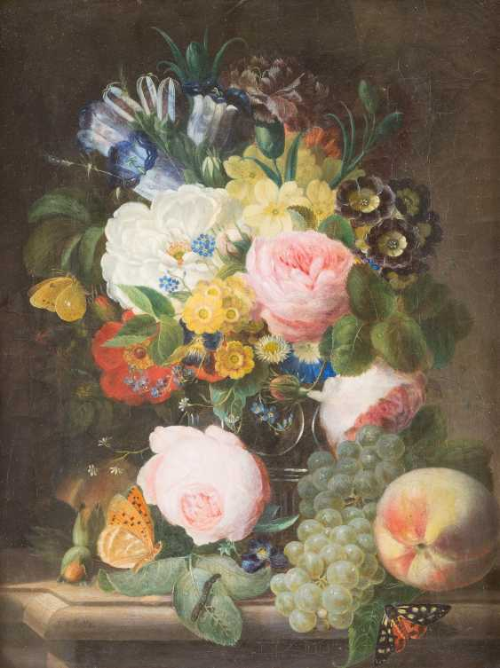 Flower still life with fruits and butterflies - photo 1