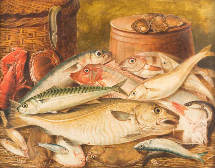 Kitchen still life with fish, lobster, crab and oysters - photo 1