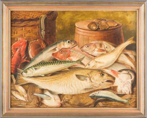 Kitchen still life with fish, lobster, crab and oysters - photo 2