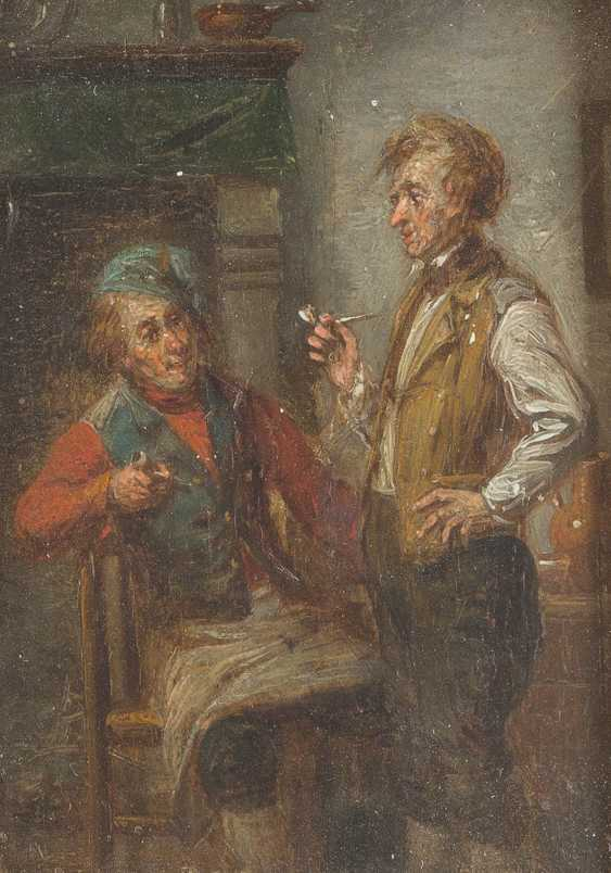 Mixed lot of paintings. Table company for two men (1); Chat at the window (2); Two pipe smokers (3) - photo 5