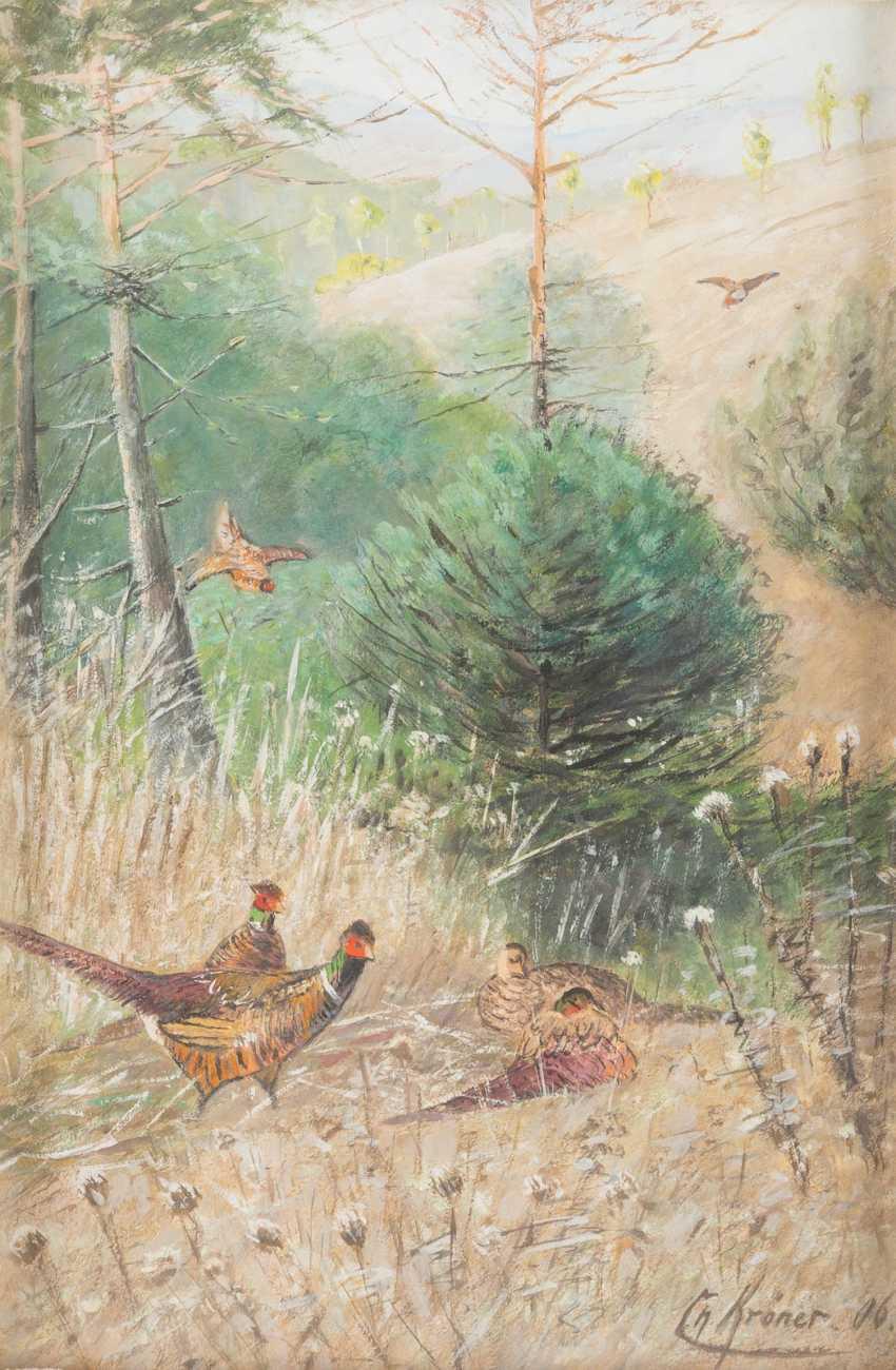 Landscape with pheasants - photo 1