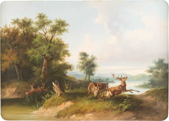 Landscape with fighting deer - photo 1