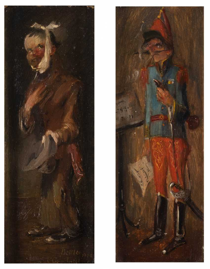Pair of paintings: soldier and beggar - photo 1