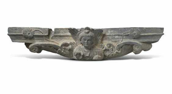 A RARE GRAY SCHIST CAPITAL DEPICTING A BODHISATTVA - photo 1