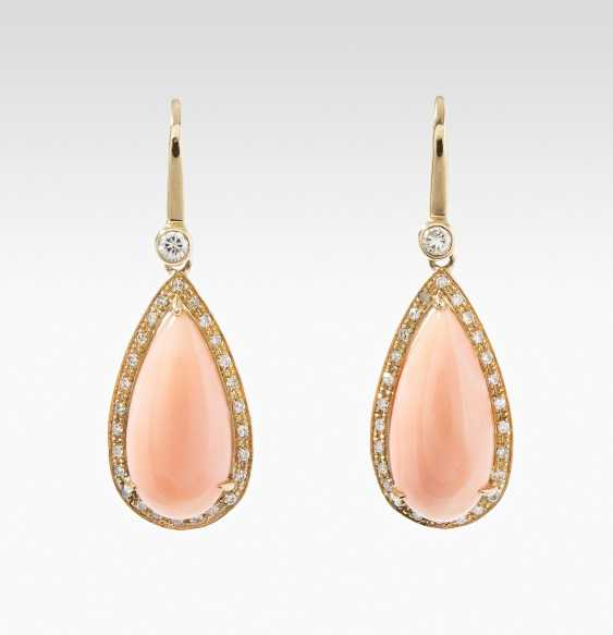 Coral and diamond earrings - photo 1