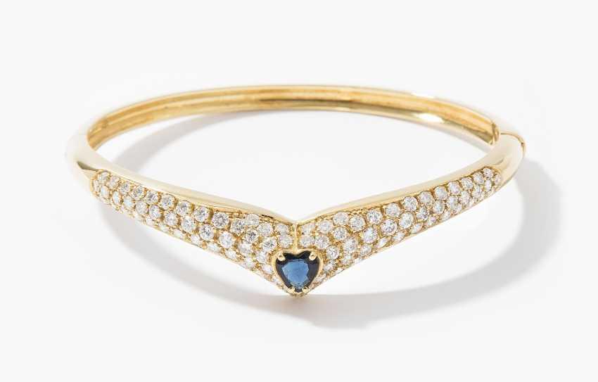 Sapphire and diamond bangle - photo 1