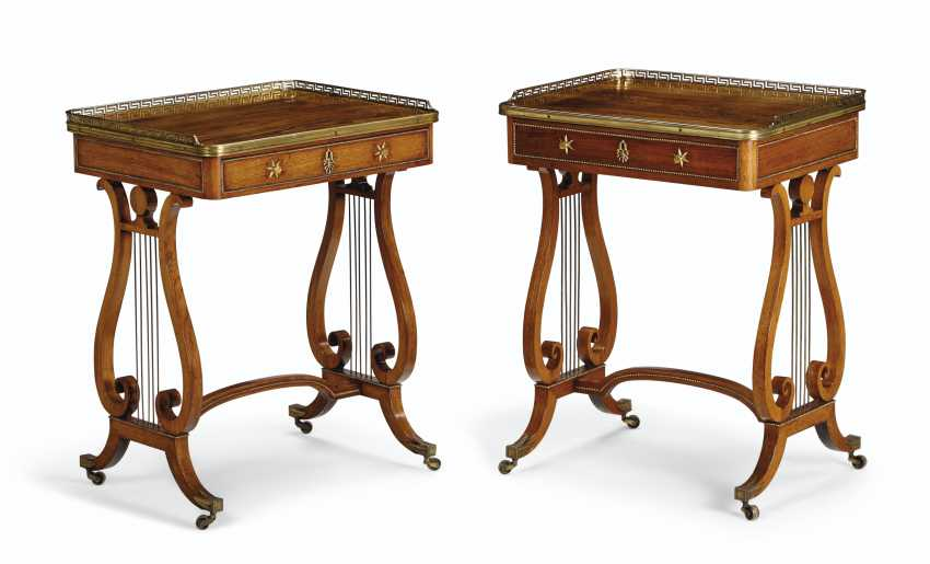 A NEAR PAIR OF REGENCY BRASS-MOUNTED INDIAN ROSEWOOD LIBRARY TABLES - photo 1