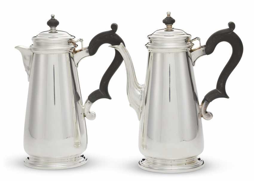 TWO SIMILAR AMERICAN SILVER COFFEE POTS - photo 1