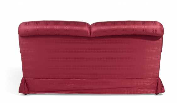 A RED SILK UPHOLSTERED TWO-SEAT SOFA - photo 2