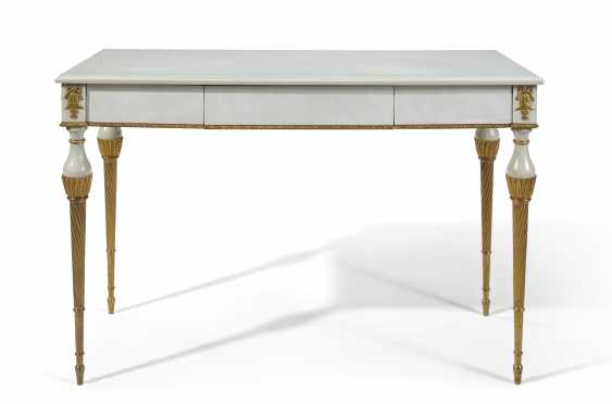 A FRENCH ORMOLU-MOUNTED WHITE-PAINTED AND PARCEL-GILT CENTER TABLE - photo 1
