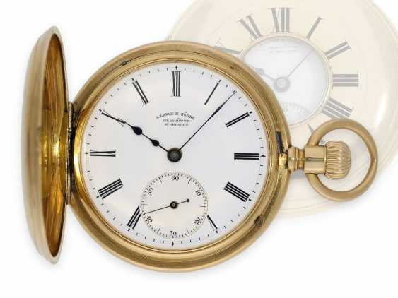 """Pocket watch: early A. Lange & Söhne pocket watch in the rare case shape """"Half Savonnette"""", best quality 1A, No. 27177, Glashütte approx. 1890, with extract from the archives - photo 1"""