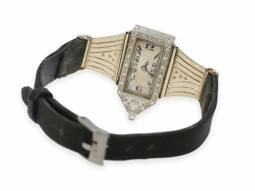 Wrist watch: extremely rare Art Deco ladies watch with stones and an engraved glass insert, probably Lalique / Verger Freres around 1925 - photo 5