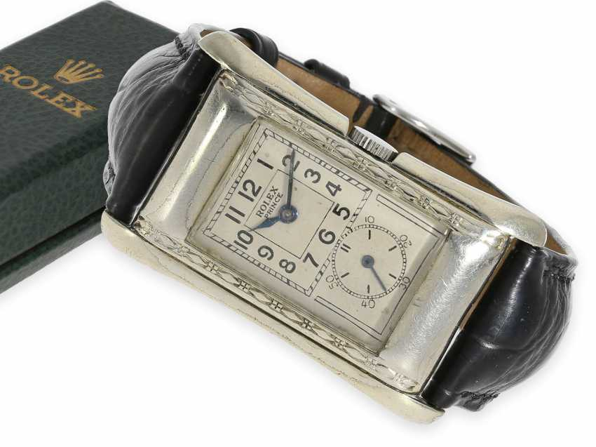 """Wristwatch: Rolex, """"Prince Brancard Chronometer"""", Ref. 971 in the rare observatory quality with steel case and original box, collector's rarity, 1930s - photo 1"""