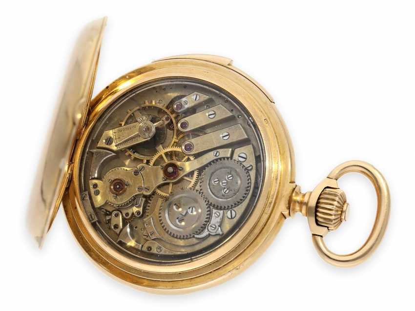 Pocket watch: exquisite and very rare Le Coultre gold savonnette with figure machine Jacquemart and minute repeater No.1968, Switzerland around 1895 - photo 3