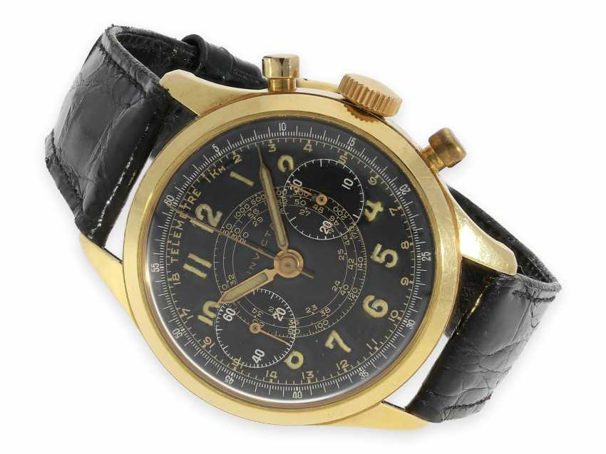 Wristwatch: extremely rare, large gold chronograph with black dial, Invicta 1940s - photo 1