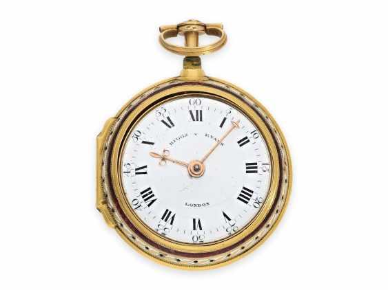 Pocket watch: exquisite, English 22K double case gold / enamel spindle watch with repeater, Higgs & Evans No.9905, Londres, around 1780 - photo 2
