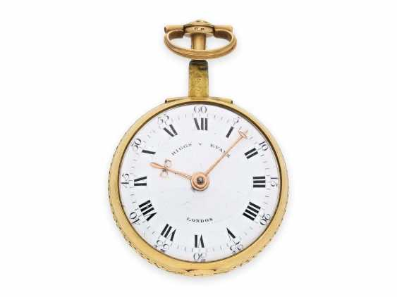 Pocket watch: exquisite, English 22K double case gold / enamel spindle watch with repeater, Higgs & Evans No.9905, Londres, around 1780 - photo 3