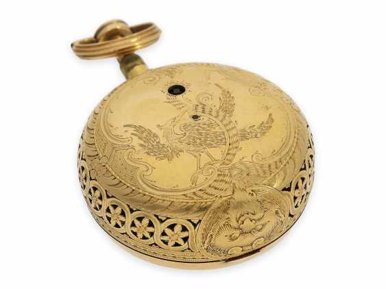 Pocket watch: exquisite, English 22K double case gold / enamel spindle watch with repeater, Higgs & Evans No.9905, Londres, around 1780 - photo 6