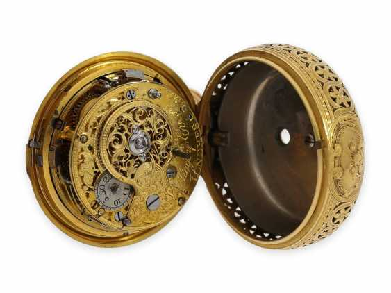 Pocket watch: exquisite, English 22K double case gold / enamel spindle watch with repeater, Higgs & Evans No.9905, Londres, around 1780 - photo 8