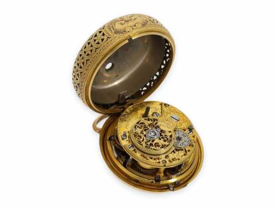 Pocket watch: exquisite, English 22K double case gold / enamel spindle watch with repeater, Higgs & Evans No.9905, Londres, around 1780 - photo 9
