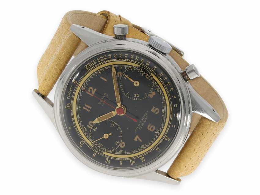 """Armbanduhr: absolute Rarität, oversize Angelus Stahlchronograph mit schwarzem Zifferblatt und Signatur """"Beyer Zürich"""", vermutlich ein Unikat, 40er-Jahre - Foto 1"""
