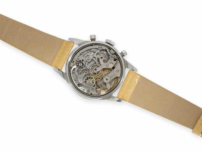 """Armbanduhr: absolute Rarität, oversize Angelus Stahlchronograph mit schwarzem Zifferblatt und Signatur """"Beyer Zürich"""", vermutlich ein Unikat, 40er-Jahre - Foto 2"""