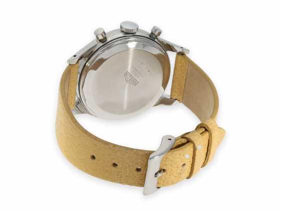 """Armbanduhr: absolute Rarität, oversize Angelus Stahlchronograph mit schwarzem Zifferblatt und Signatur """"Beyer Zürich"""", vermutlich ein Unikat, 40er-Jahre - Foto 3"""