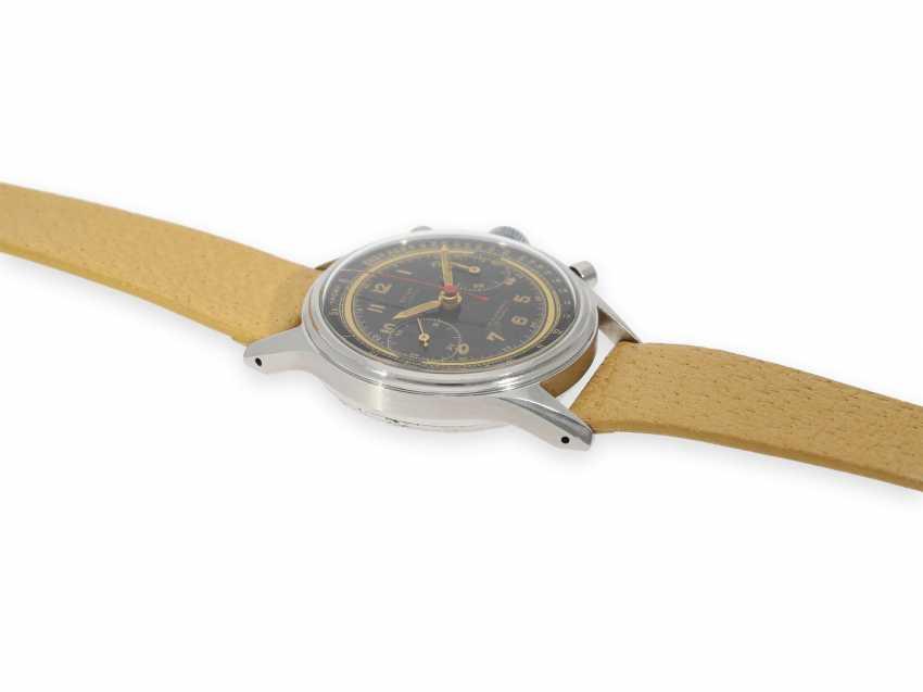 """Armbanduhr: absolute Rarität, oversize Angelus Stahlchronograph mit schwarzem Zifferblatt und Signatur """"Beyer Zürich"""", vermutlich ein Unikat, 40er-Jahre - Foto 5"""