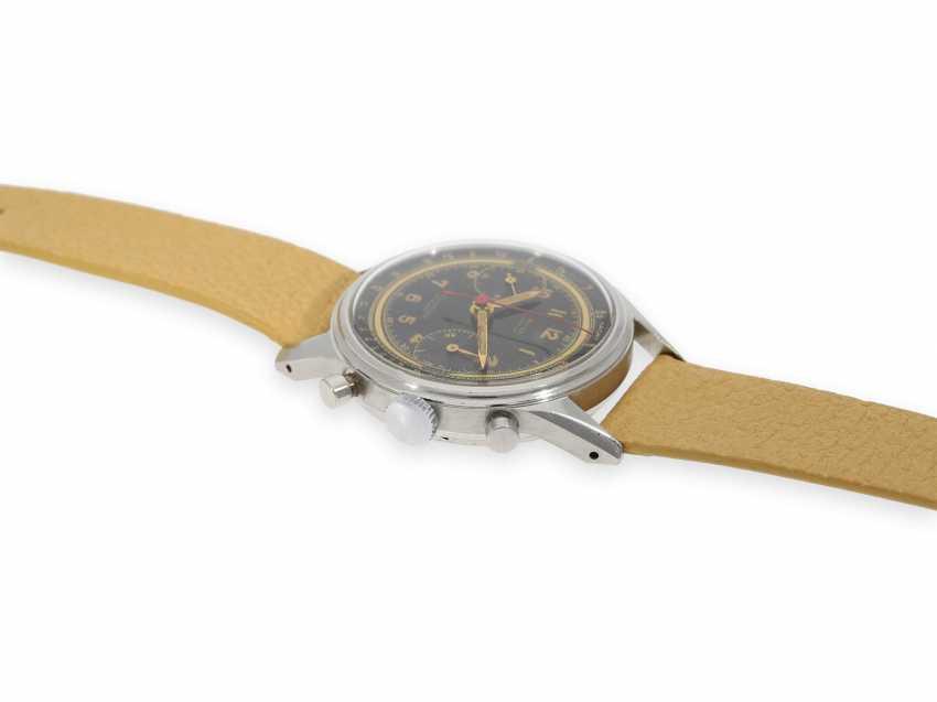 """Armbanduhr: absolute Rarität, oversize Angelus Stahlchronograph mit schwarzem Zifferblatt und Signatur """"Beyer Zürich"""", vermutlich ein Unikat, 40er-Jahre - Foto 6"""