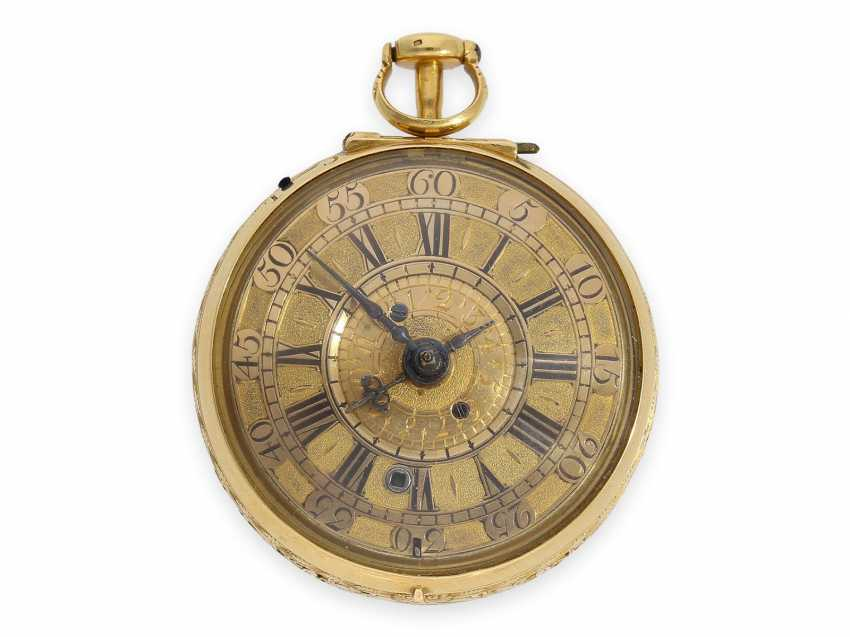 Pocket watch: technical rarity, golden English pocket watch with self-strike, repeater and alarm clock, William Winrowe London No.135, 1718-1734 - photo 3