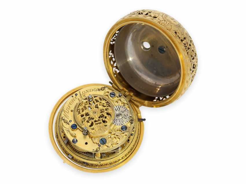 Pocket watch: technical rarity, golden English pocket watch with self-strike, repeater and alarm clock, William Winrowe London No.135, 1718-1734 - photo 4