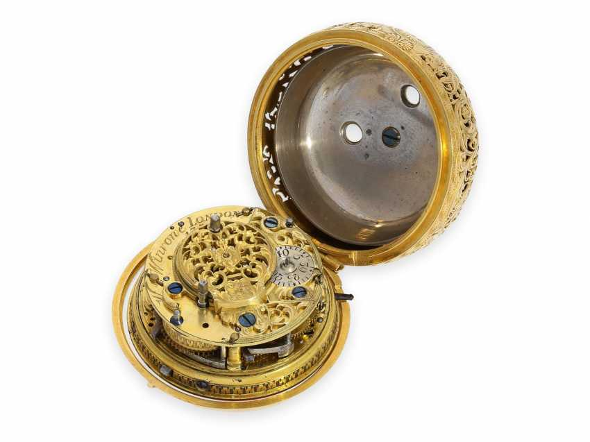 Pocket watch: technical rarity, golden English pocket watch with self-strike, repeater and alarm clock, William Winrowe London No.135, 1718-1734 - photo 5