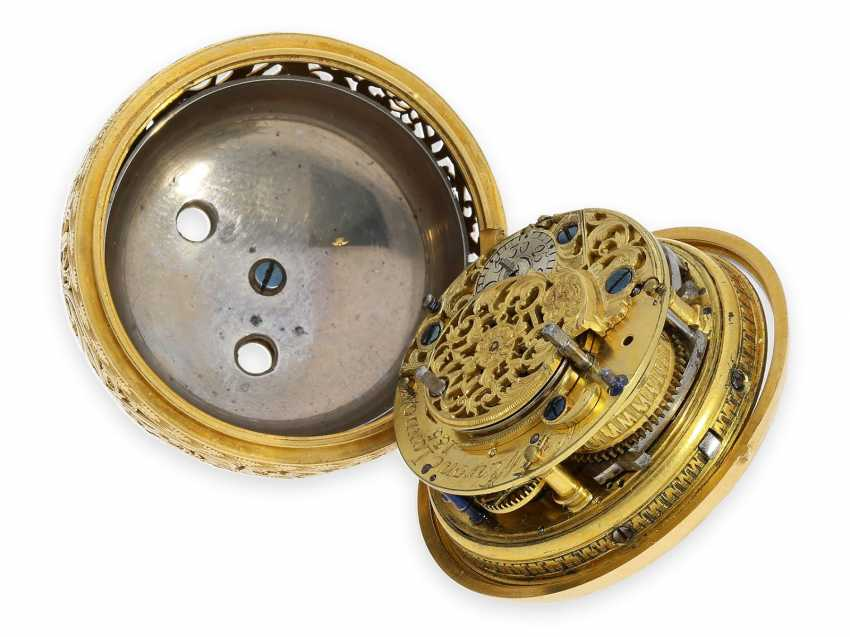 Pocket watch: technical rarity, golden English pocket watch with self-strike, repeater and alarm clock, William Winrowe London No.135, 1718-1734 - photo 6