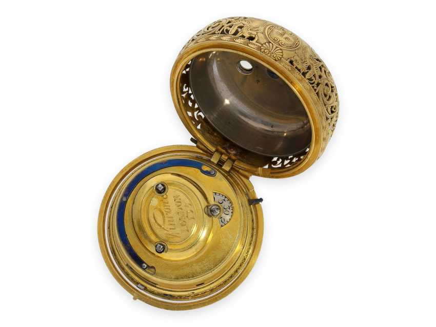 Pocket watch: technical rarity, golden English pocket watch with self-strike, repeater and alarm clock, William Winrowe London No.135, 1718-1734 - photo 7