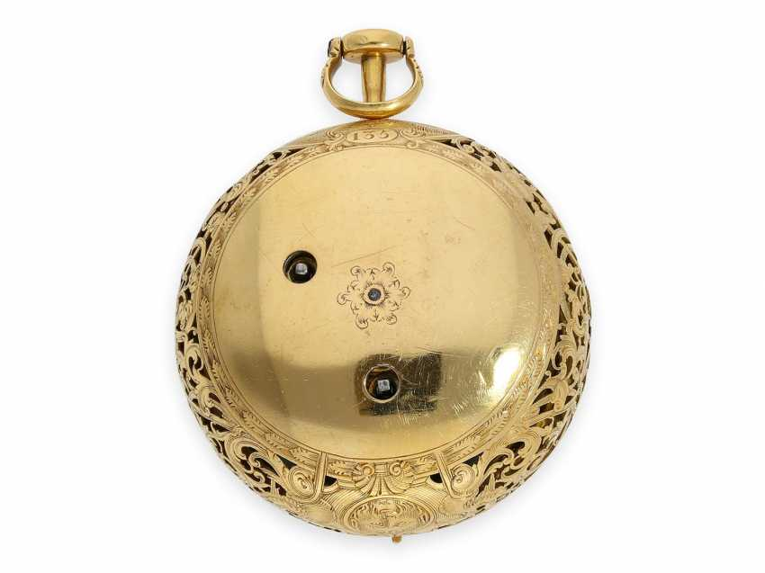 Pocket watch: technical rarity, golden English pocket watch with self-strike, repeater and alarm clock, William Winrowe London No.135, 1718-1734 - photo 8