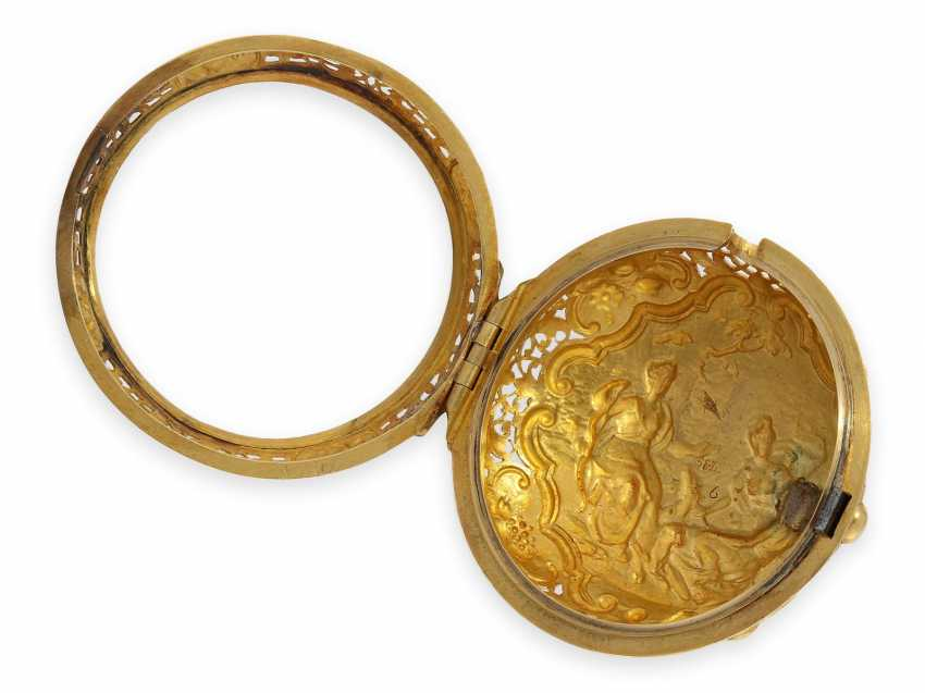 Pocket watch: technical rarity, golden English pocket watch with self-strike, repeater and alarm clock, William Winrowe London No.135, 1718-1734 - photo 9
