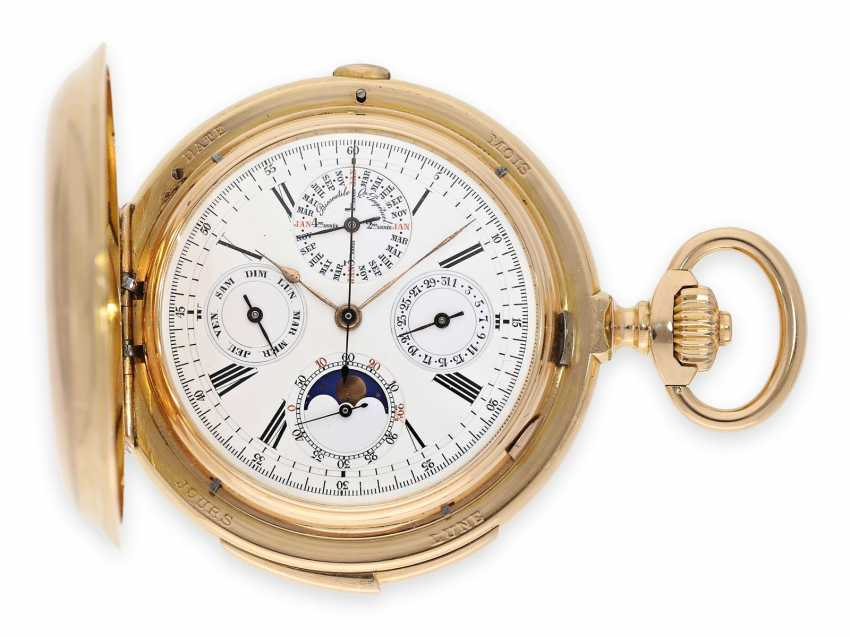 Pocket watch: Museale Le Coultre gold savonnette with minute repeater, perpetual calendar and chronograph, made for Beyer Zurich with signed box, exceptional quality, around 1900 - photo 1