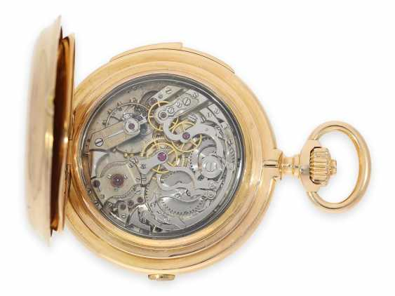 Pocket watch: Museale Le Coultre gold savonnette with minute repeater, perpetual calendar and chronograph, made for Beyer Zurich with signed box, exceptional quality, around 1900 - photo 2