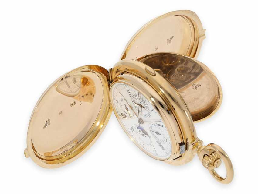 Pocket watch: Museale Le Coultre gold savonnette with minute repeater, perpetual calendar and chronograph, made for Beyer Zurich with signed box, exceptional quality, around 1900 - photo 3