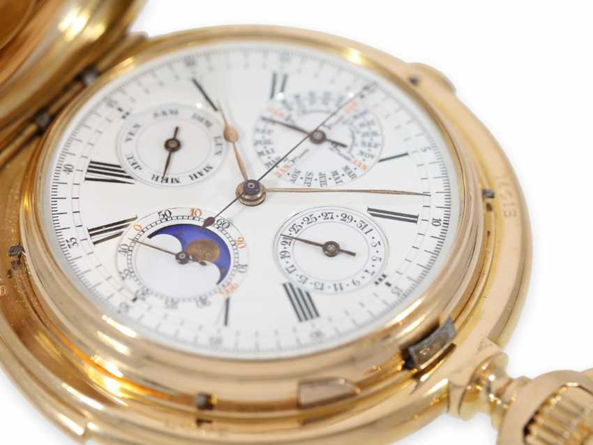 Pocket watch: Museale Le Coultre gold savonnette with minute repeater, perpetual calendar and chronograph, made for Beyer Zurich with signed box, exceptional quality, around 1900 - photo 4
